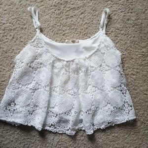 L A Hearts Sheer Lace crop top Size xs